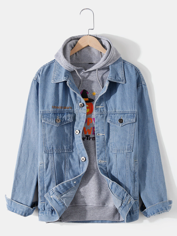 Mens Letter Embroidery Button Front Cotton Outdoor Stylish Denim Jackets With Pocket