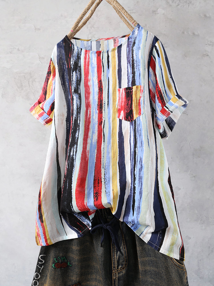Multicolor Striped Short Sleeve Casual T-shirt For Women
