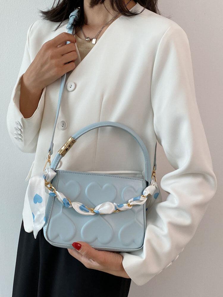 Sweet Stylish Silk Scarf Chain Decor Heart-shaped Embossed Underarm Crossbody Bag