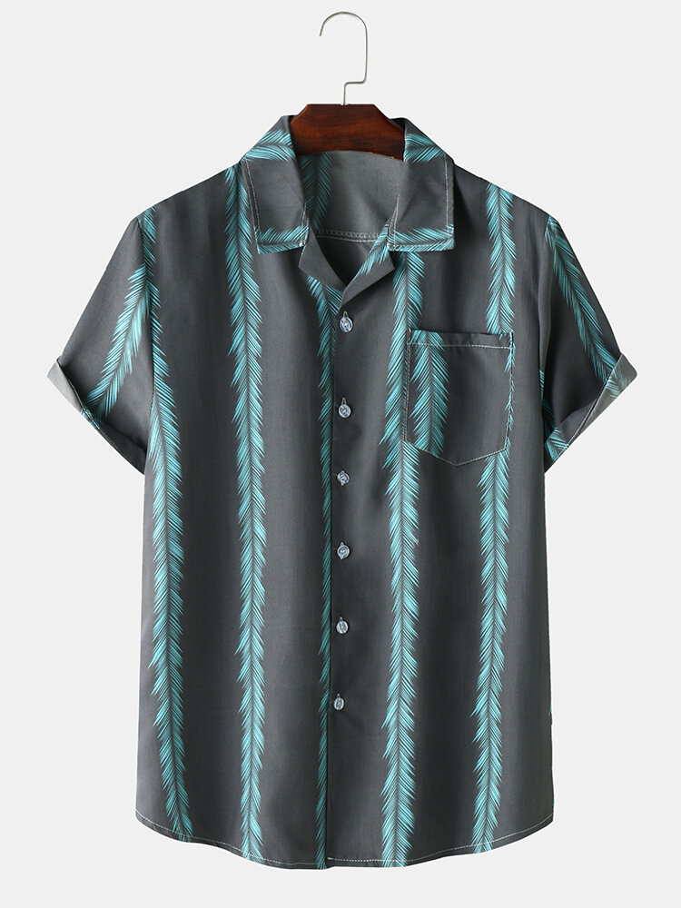 Mens Plant Striped Revere Collar Button Up Holiday Shirt