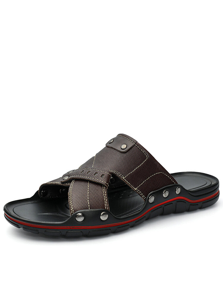 Men PU Leather Non Slip Beach Home Casual Slides Slippers