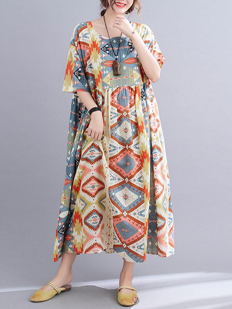 Painted Geometry Print Loose 3/4 Length Sleeve O-neck Vintage Dress
