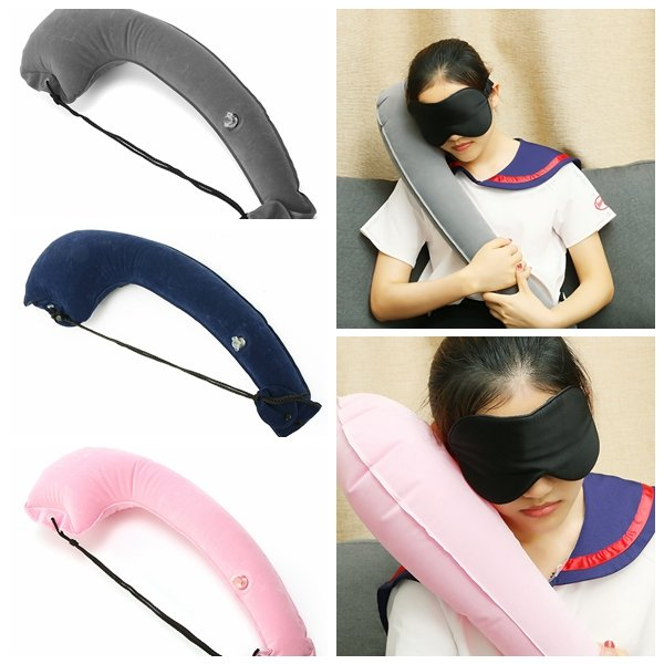 90x28cm Comfortable Portable Inflatable Pillow Camping Travel  Neck Pillow Cushion