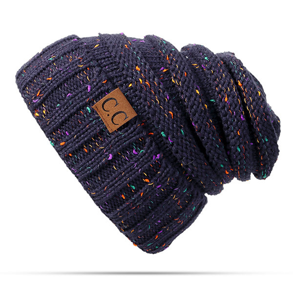Women Winter Thicken Knitted Mix Color Beanies Hat Outdoor Warm Elastic Bonnet Hat