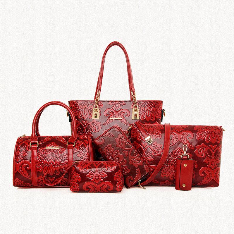 Women 5PCS Printed Handbags Multi-Function Crossbody Bags Long Purse