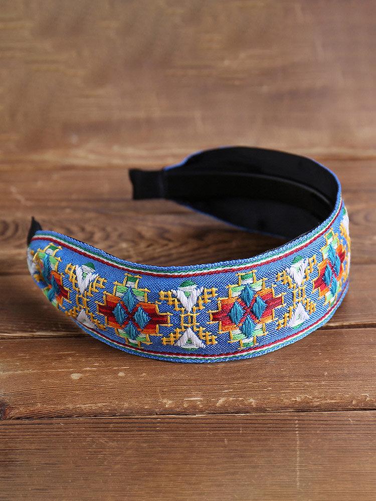 刺繍入りコットンとリネンのヘッドバンドフレッシュボヘミアンエスニックスタイルのヘアバンドトラベルホームレジャーヘッドバンド