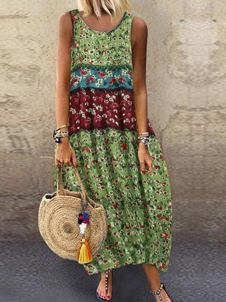 Floral Print Patchwork Sleeveless Plus Size Dress