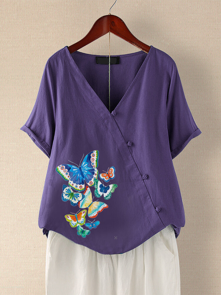 Butterfly Print Frog Button Short Sleeve Plus Size Blouse