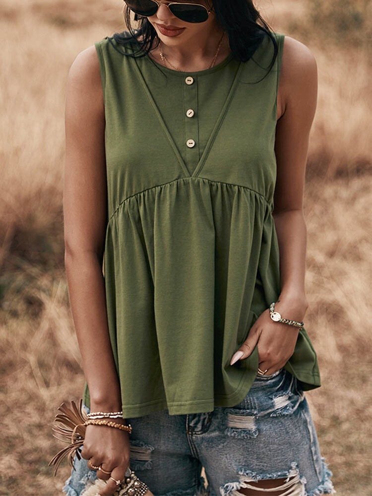 Solid Color Sleeveless Button O-neck Casual Tank Top For Women