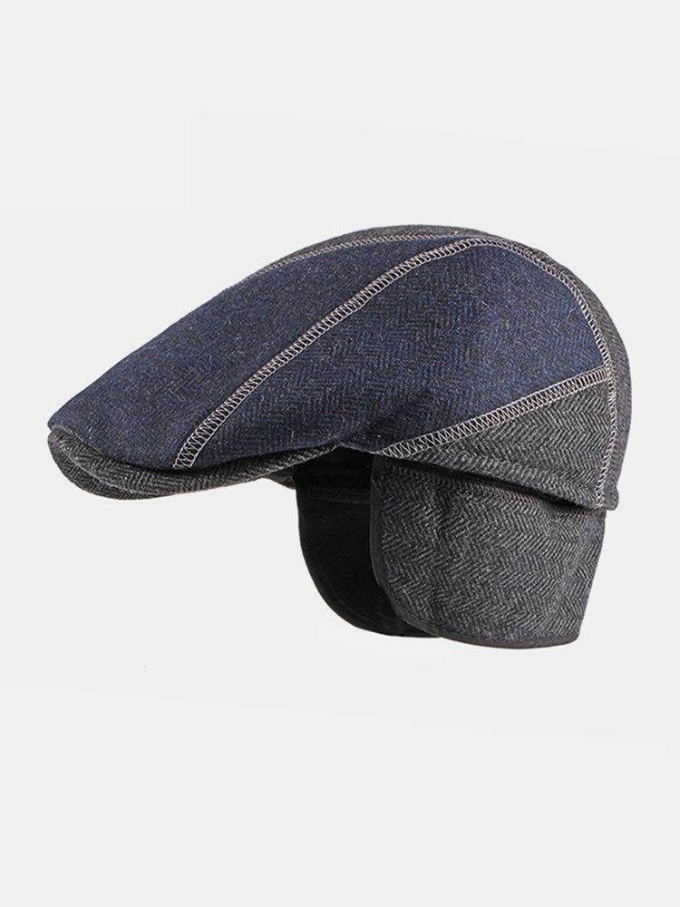 Men Felt Ear Protection Keep Warm Contrast Color Casual Forward Hat Beret Hat Flat Cap