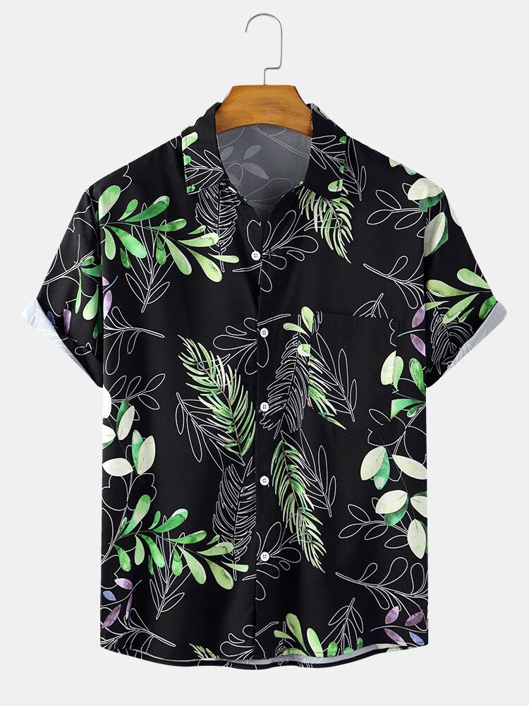 Mens Holiday Tropical Leaf Printed Light Casual Short Sleeve Shirts With Pocket