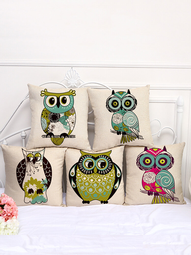 Multi-color Cartoon Cute Owl Pattern Linen Cotton Cushion Cover Home Car Sofa Office Pillowcases