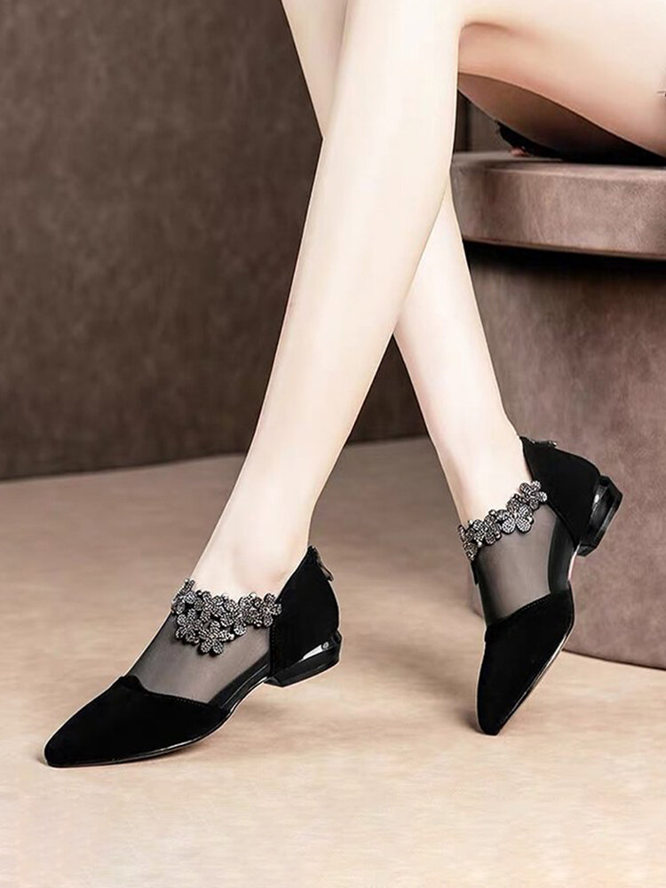 Women Flower Embellished Breathable Mesh Splicing Synthetic Suede Pointed Toe Block Heel Ankle Boots
