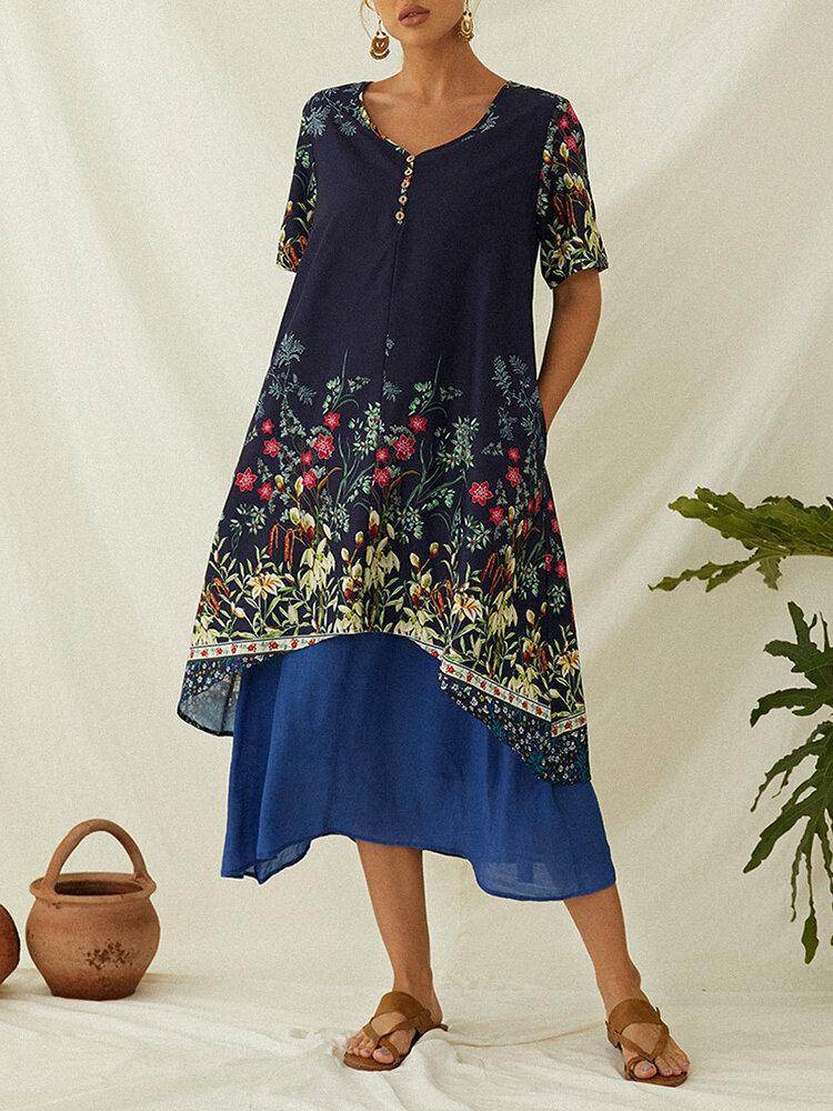 خمر زهرة طباعة قصيرة الأكمام فستان قطعتين وهمية مع جيب