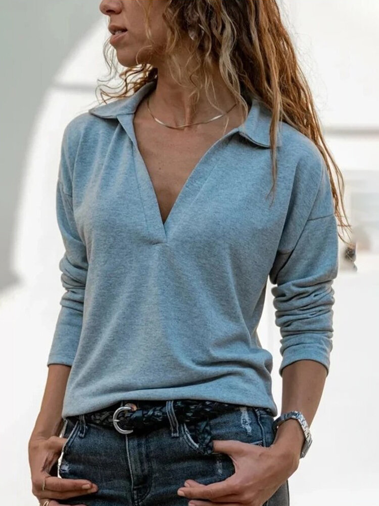 Casual Solid Color Lapel Collar Long Sleeve Blouse