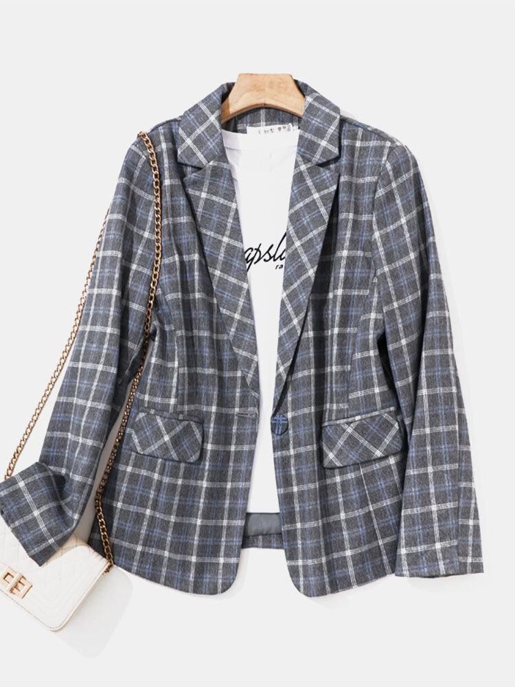 Check Print Lapel Long Sleeve Button Pocket Women Blazer