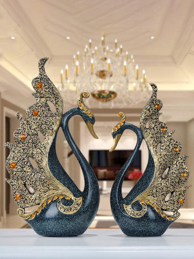 2 pièces résine de luxe européenne Swan ornement décoration de la maison artisanat meuble TV statues de bureau