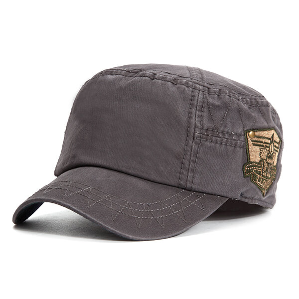 Mens Cotton Embroidered Logo Flat Top Hats Outdoor Casual Military Exercise Visor Baseball Caps
