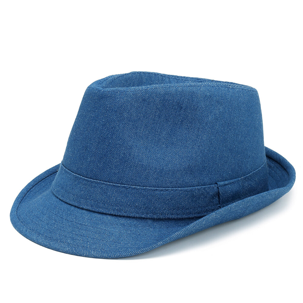 Women Men Unisex Denim Bucket Cap Cowboy Hat England Style Jazz Hat Sunscreen Protective Visor Hat