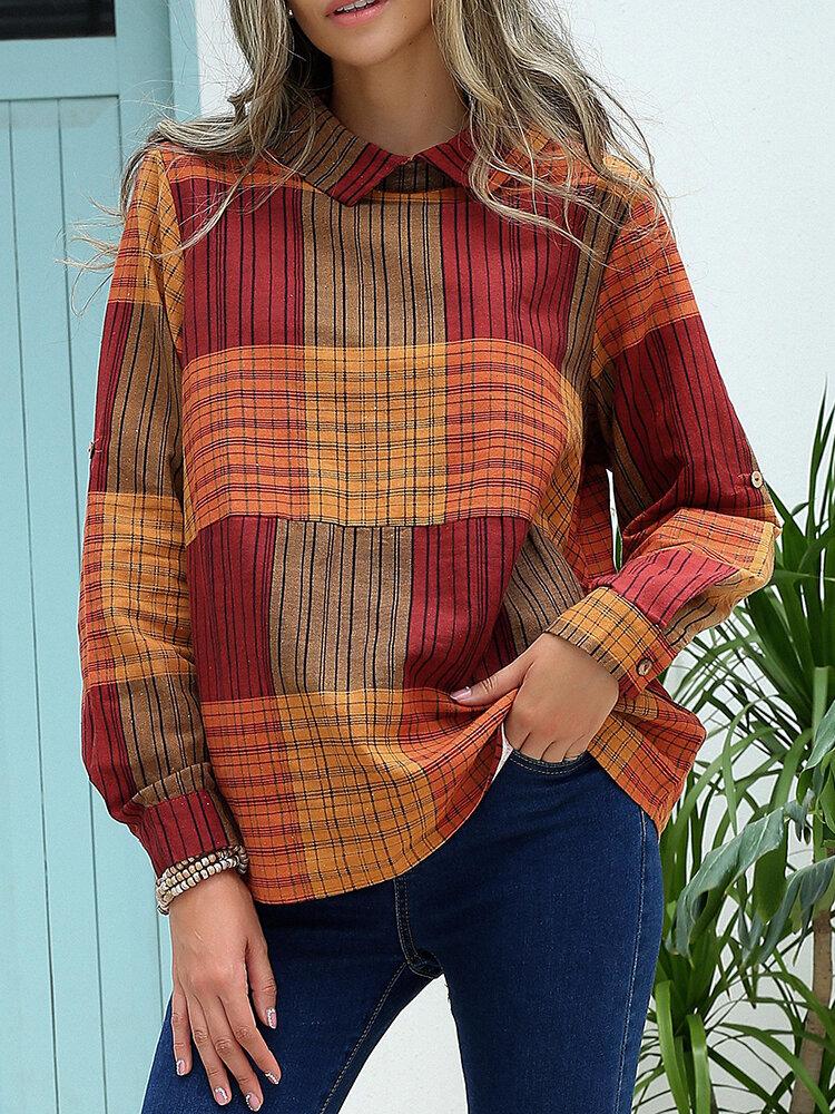 Check Print Long Sleeve Button Lapel Blouse for Women