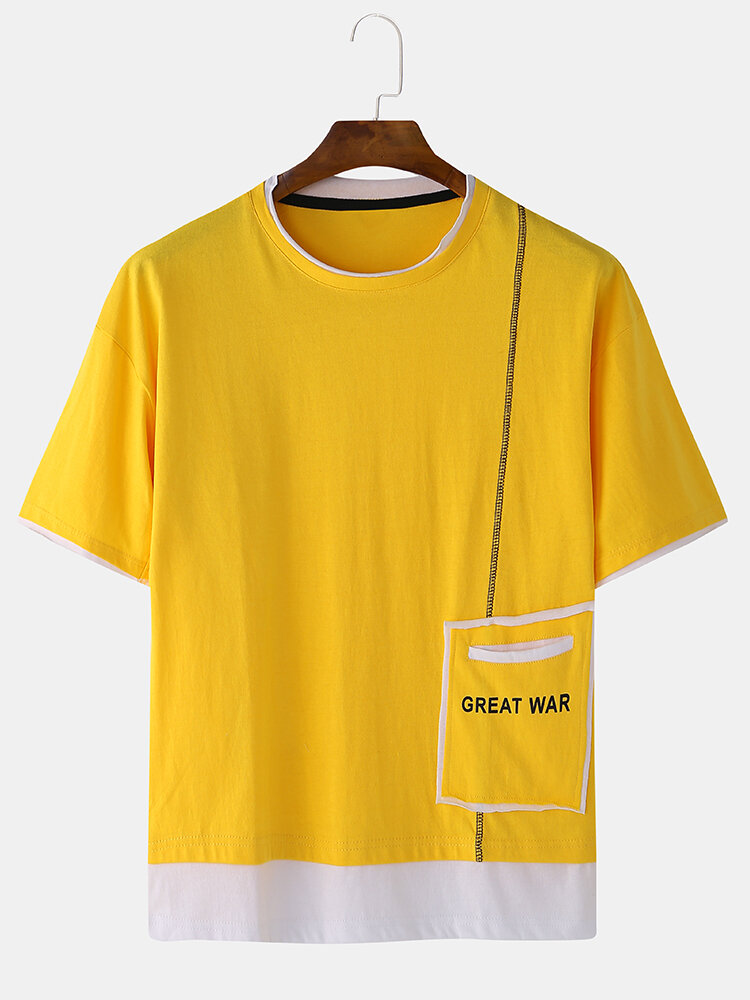 Men Cotton Solid Color Letter Pocket Home Round Neck Casual T-shirt Fake Two Pieces