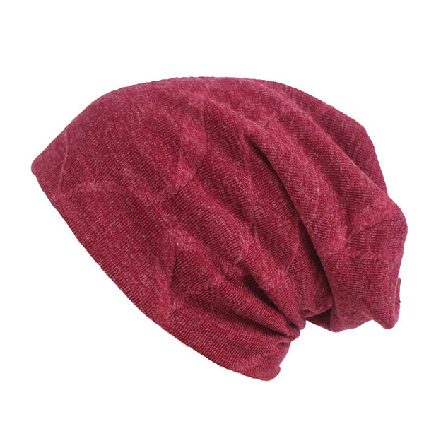 Women Cotton Solid Thicken Beanie Hats Comfortable Multi-function Scarf Casual Windproof Visor Hats