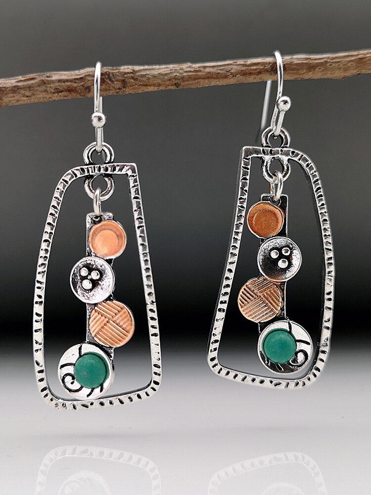 Vintage Geometric Symmetry Women Earrings Two-Tone Turquoise Pendant Earrings Jewelry Gift