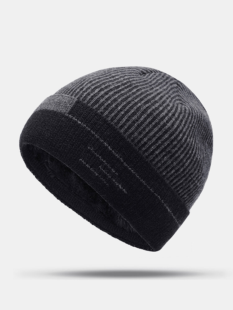 Mens Thick Wool Velvet Knitted Hat Warm Winter Windproof Outdoor Casual Snow Beanie