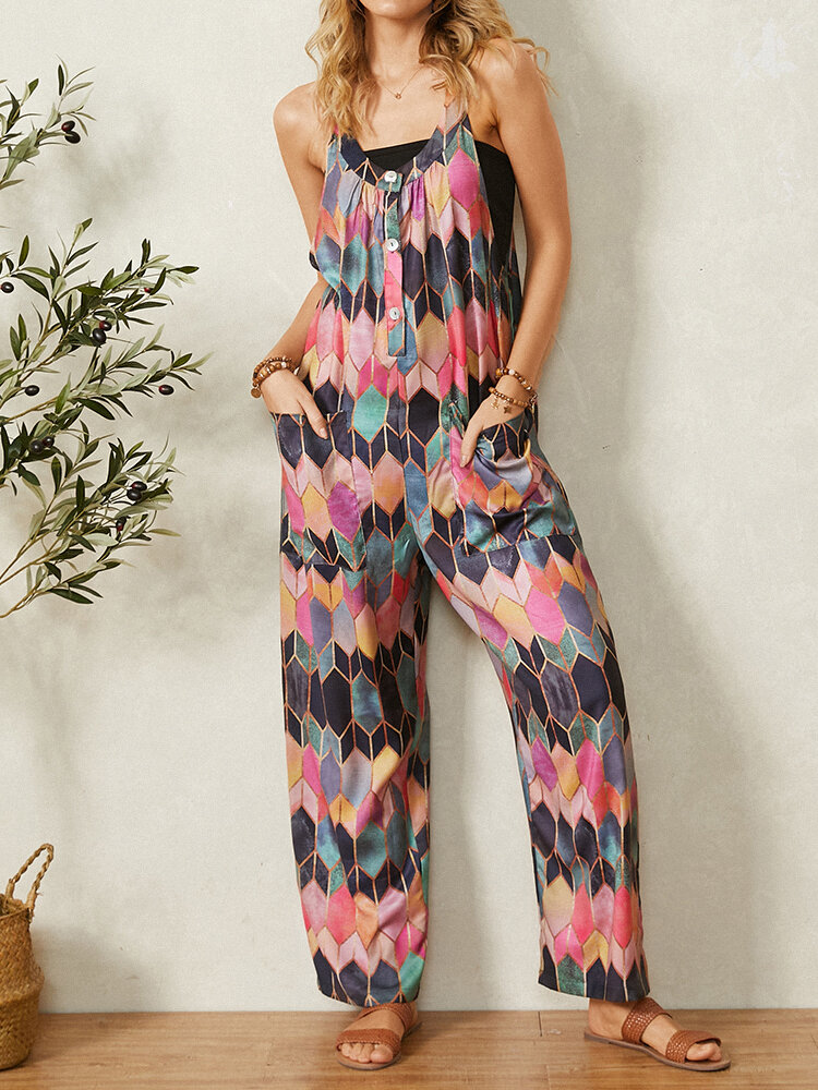 Retro Geometric Printed Straps Patchwork Jumpsuit With Pocket