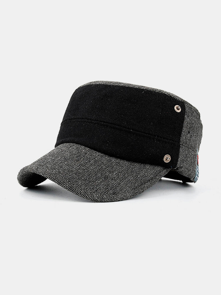 Men Patchwork Woolen Flat Hat Windproof Adjustable Snapback Caps