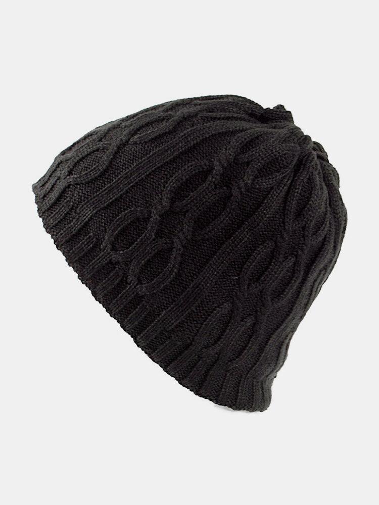 Cappello lavorato a maglia da uomo in velluto di lana invernale spesso vintage casual Orecchio Collo berretto con sciarpa calda doppio uso