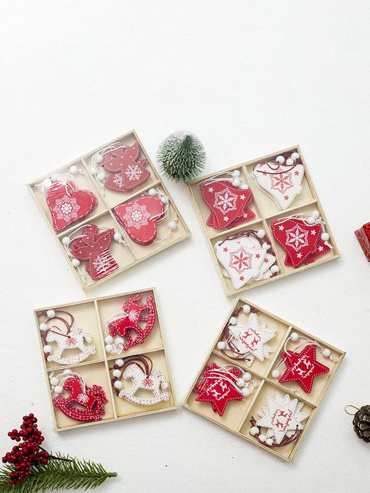 12 قطعة خشبية إبداعية لتقوم بها بنفسك عيد الميلاد قلادة لوازم ديكور عيد الميلاد مجموعة زخرفة شجرة عيد الميلاد