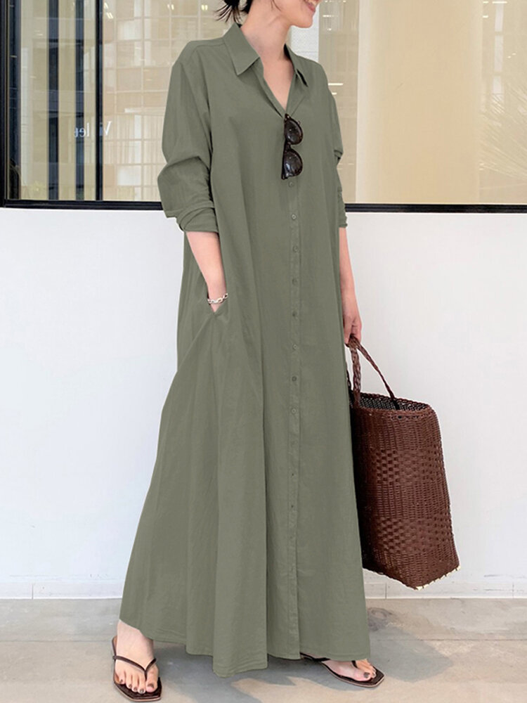 Solid Color Pocket Button Long SLeeve Casual Dress for Women