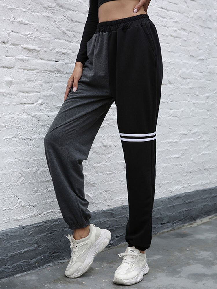 Solid Color Patchwork Striped Print Hight Waist Pants