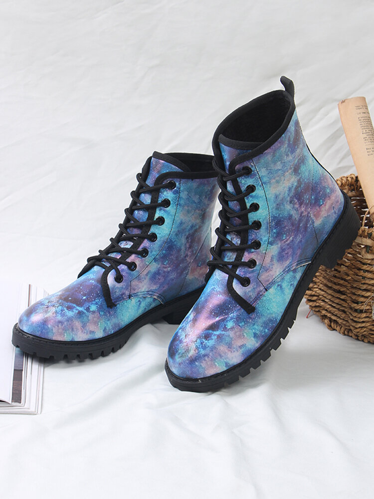Large Size Women Beautiful Blue Starry Sky Pattern Lace-up Block Heel Shoes Casual Tooling Boots