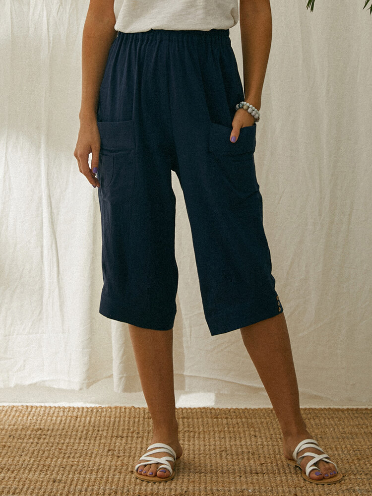 Solid Color Elastic Waist Wide Leg Pants With Pocket