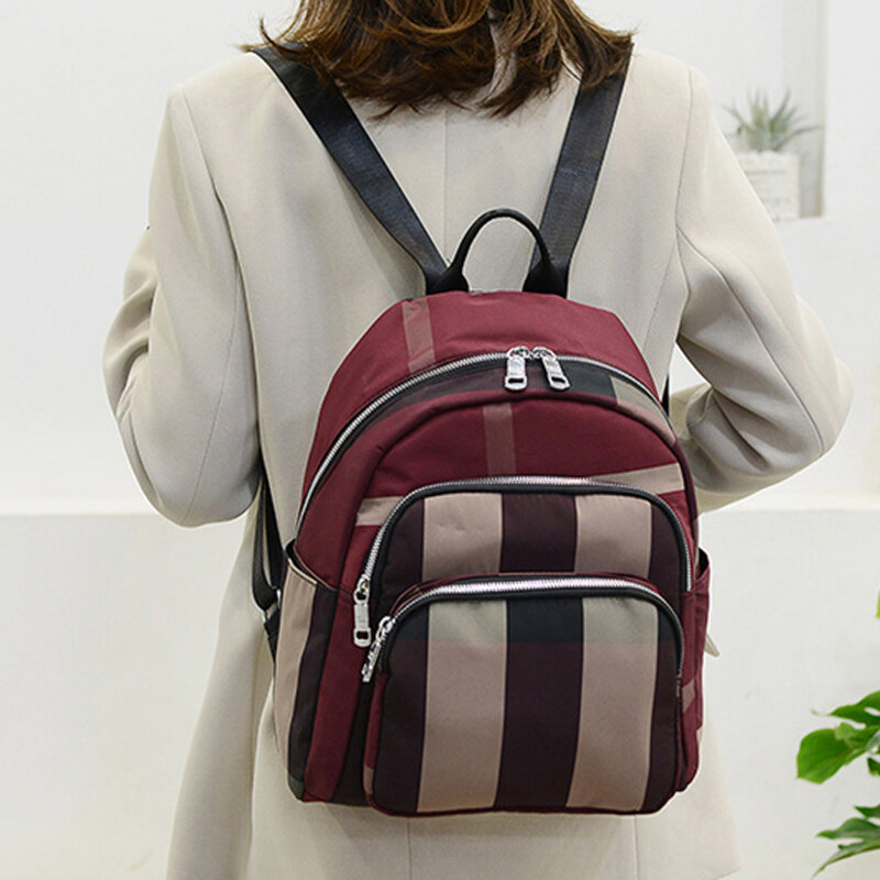 Women Gingham Anti-theft Patchwork Large Capacity Backpack