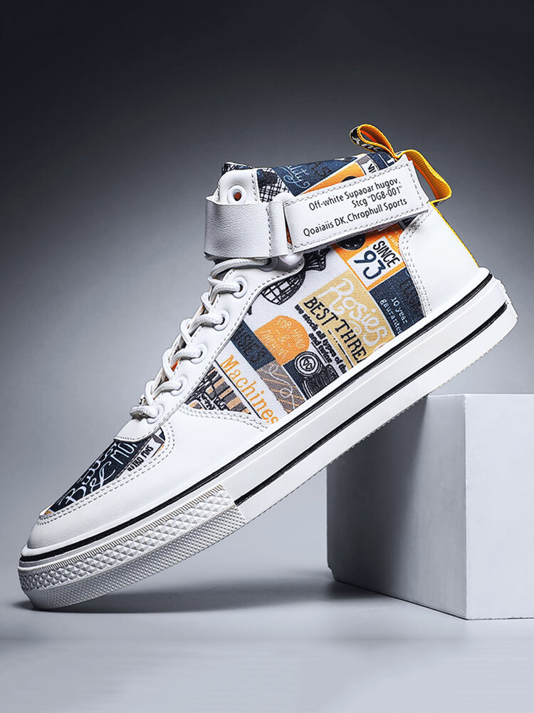 Men Sport Stylish Stitching Pattern Canvas High Top Comfy Casual Sneakers
