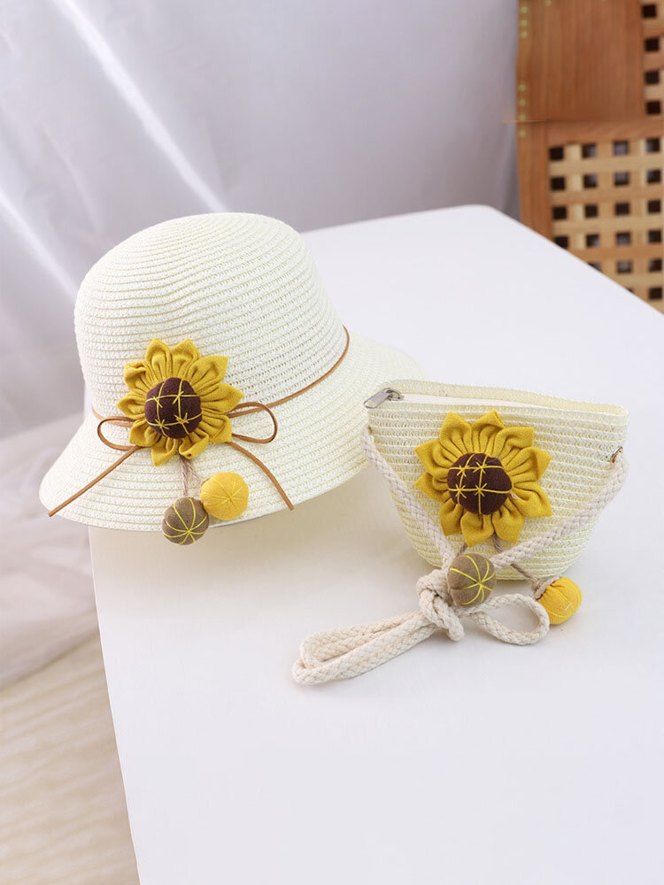 Cute Summer Children Sun Protection Hat Straw Fabric Comfy Coin Bag Beach Style Travel Bag