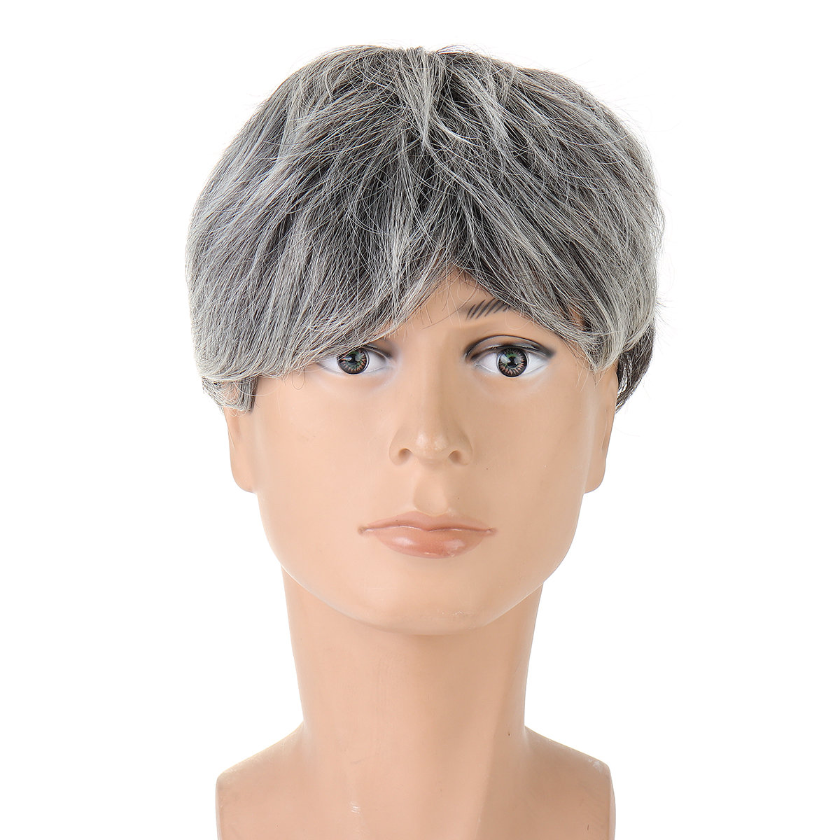 Synthetic Wigs Men's Middle-Aged Short Straight Hair Wigs Silver Gray Wig Props Wig Headgear