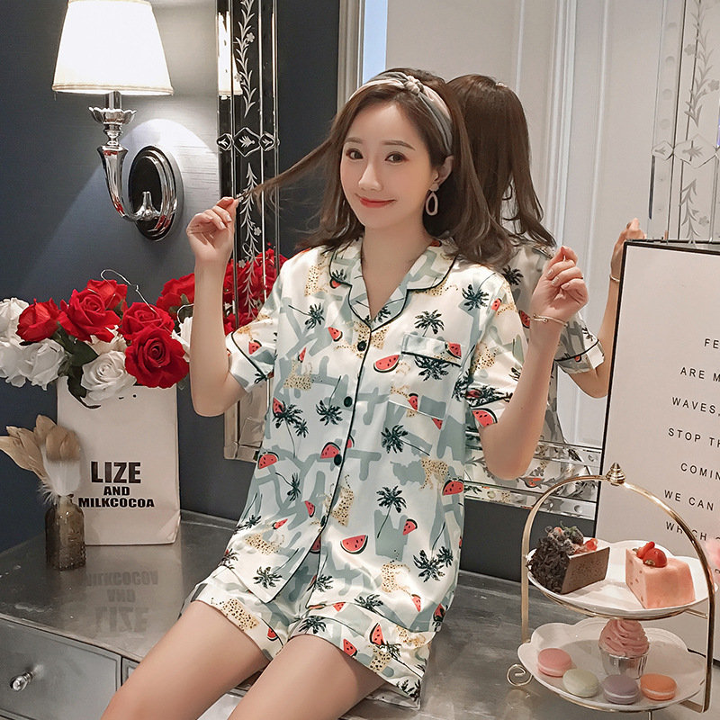Pajamas ice silk short-sleeved shorts two-piece suit