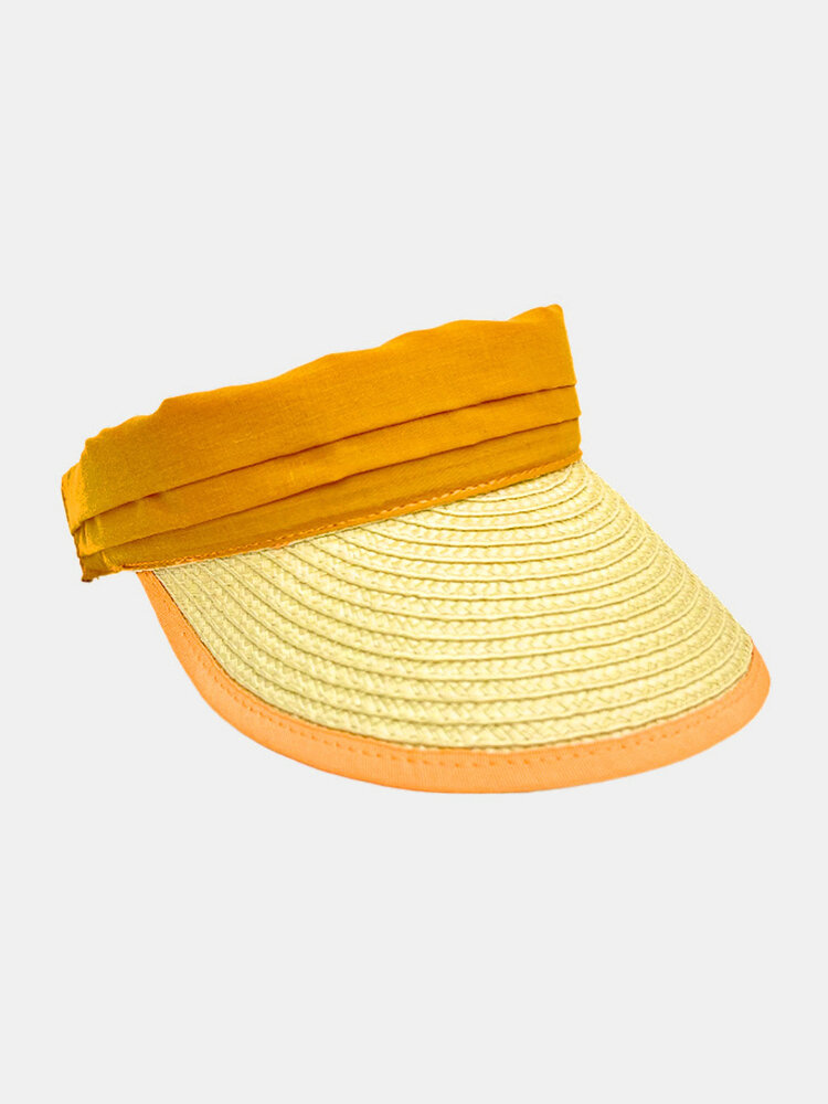 Unisex Straw Color Contrast Wide Brim Adjustable Breathable SunscreenEmpty Top Cap Baseball Hat