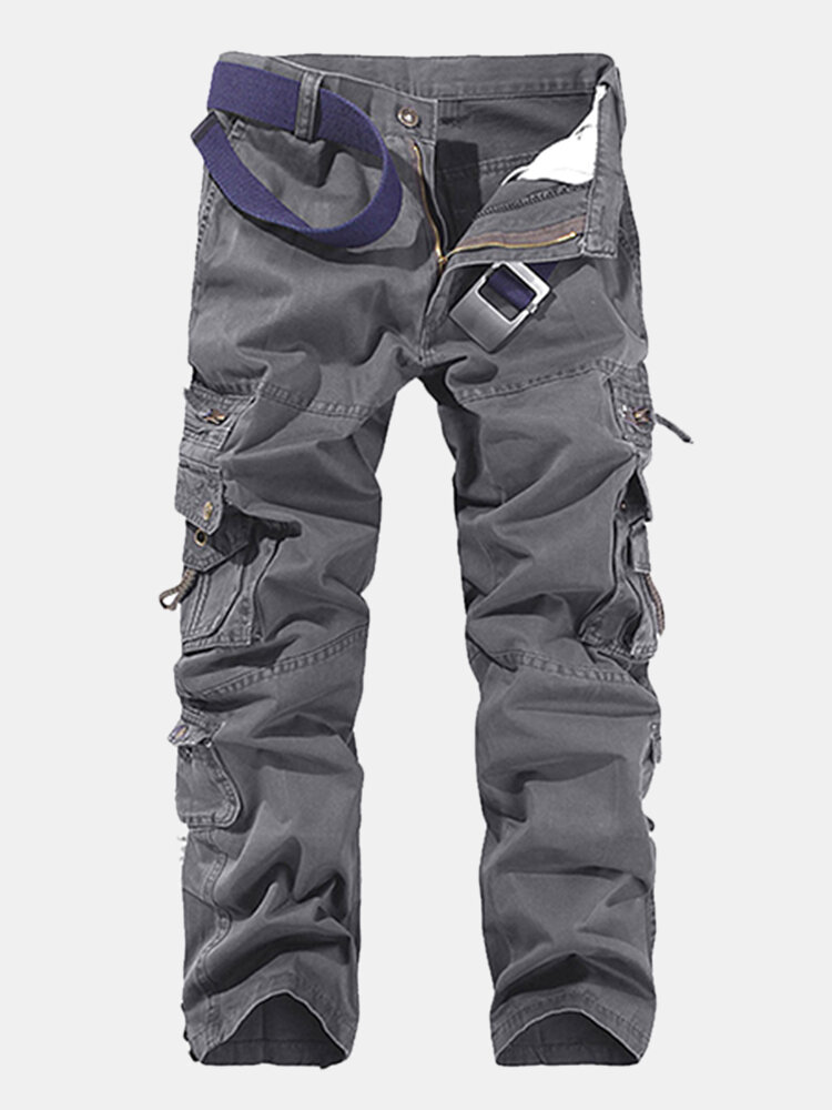 Mens Cotton Solid Multi-pocket Casual Cargo Pants