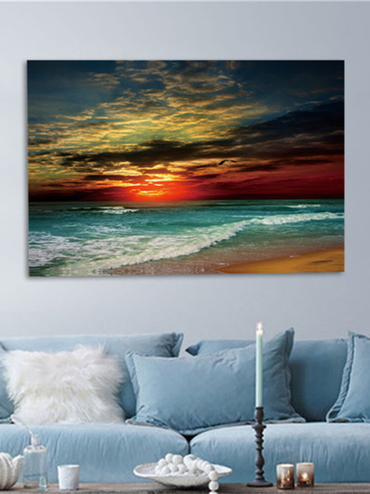 額入りの家の装飾額入りのキャンバスプリントモダンなウォールアートシースケープビーチ画像