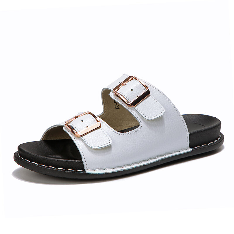Opened Toe Leather Casual Beach Flat Slide Slippers