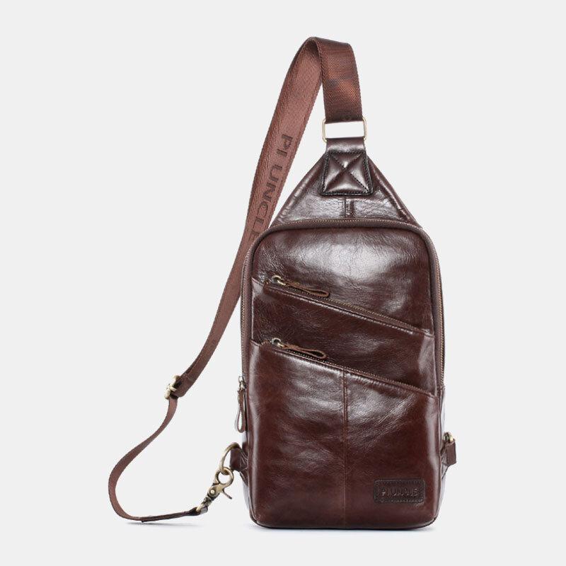 Men Casual Solid Genuine Leather Crossbody Bag