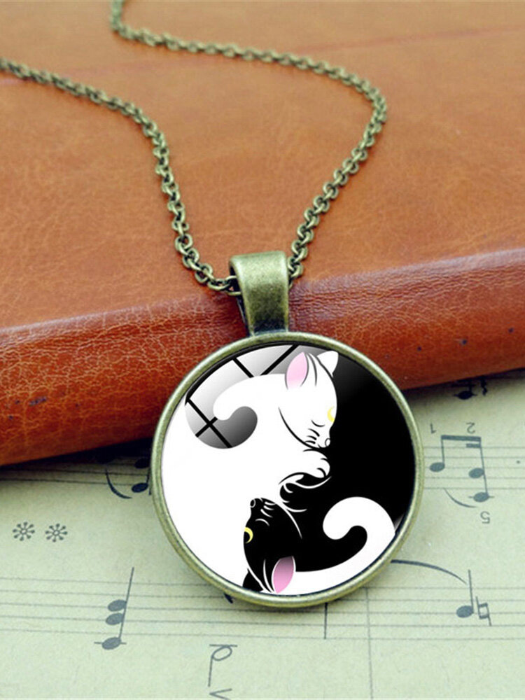 Vintage Glass Printed Women Necklace Yin-Yang Black-White Cat Pendant Necklace Jewelry Gift