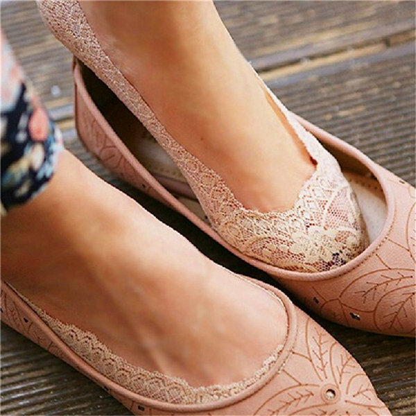 Women Invisible Antiskid Lace Boat Socks Shallow Liner No Show Peep Low Cut Hosiery