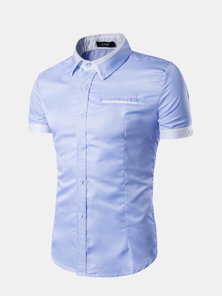 Patchwork Stylish Solid Color Designer Short Shirts For Men
