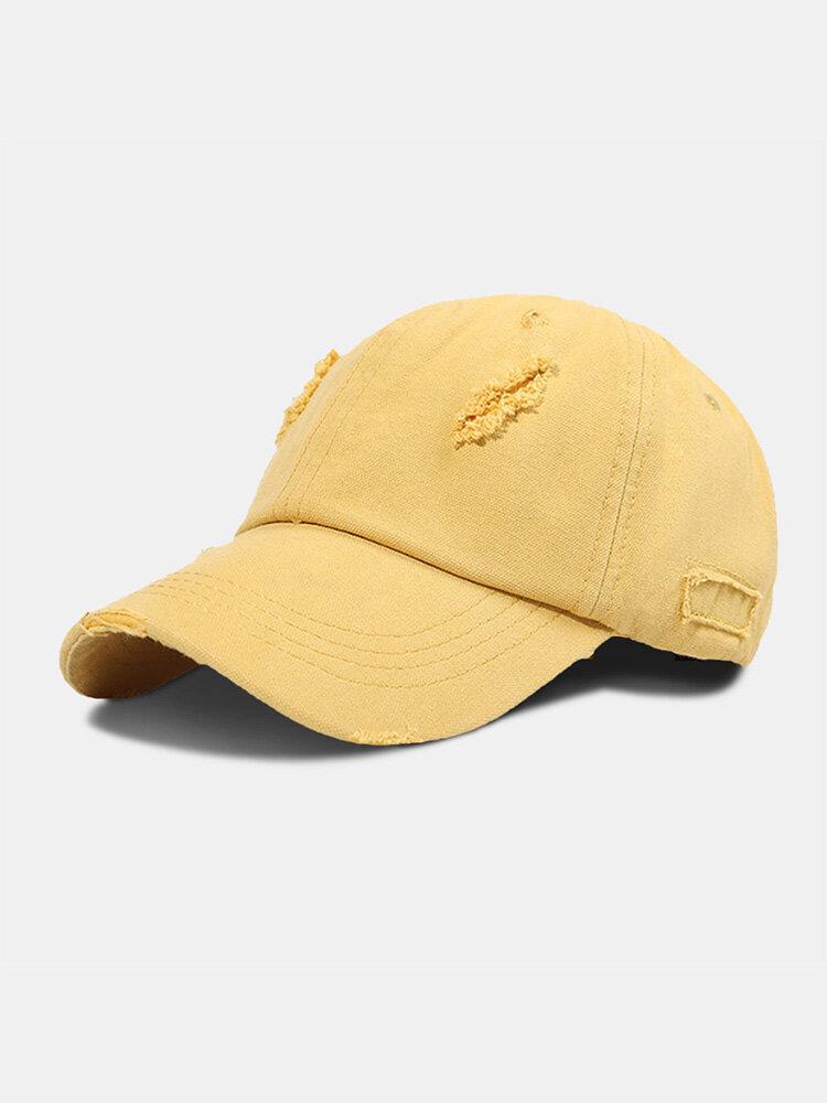 Unisex Polyester Cotton Solid Color Broken Hole Simple Sunshade Baseball Cap